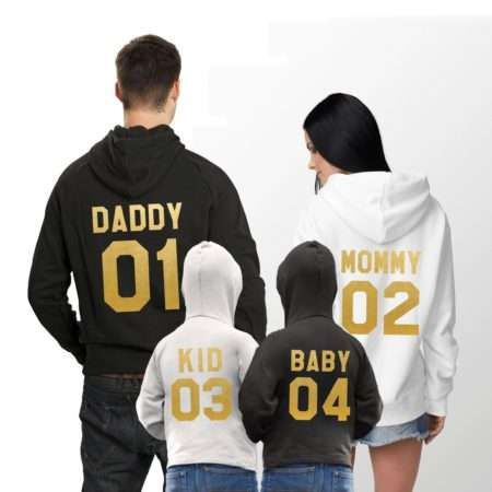 Mommy Daddy Kid Baby Hoodies