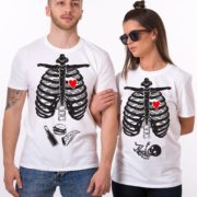 Maternity, Skelleton Shirt, Couple Shirts, White