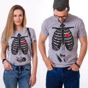 Maternity, Skelleton Shirt, Couple Shirts, Gray