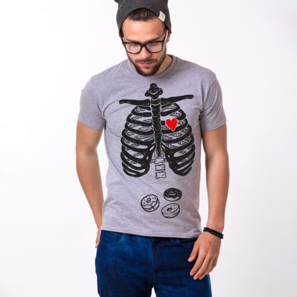 Skeleton and Donuts Shirt, Man, Gray