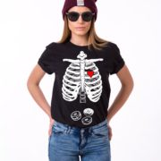 Skeleton and Donuts Shirt, Woman, Black