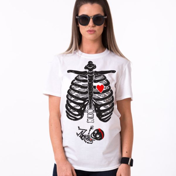 Maternity Skeleton Shirt, Baby Girl, White