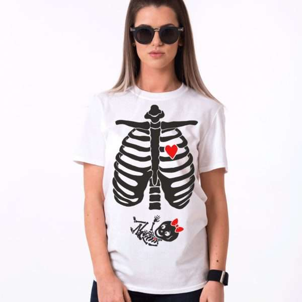 Baby Girl Maternity Shirt, Halloween Shirt, Skeleton Shirt