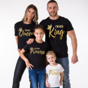 I am Her King, I am His Queen, I am Their Prince, I am Their Princess, Black/Gold, White/Gold
