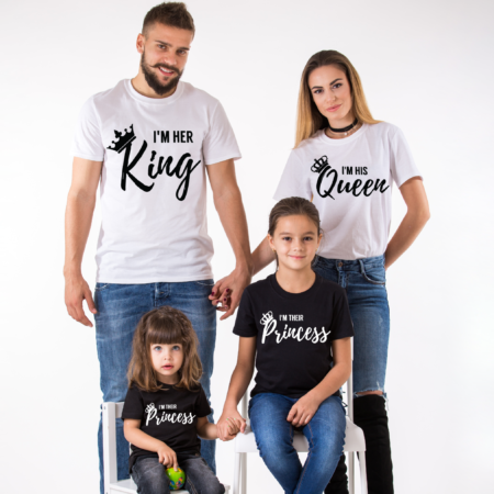 king queen family I am Her King, I am His Queen, I am Their Prince, I am Their Princess, Matching King Queen Family Shirts