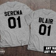 Serena Blair t-shirts, Bff shirts, Set of two matching shirts for best friends, UNISEX 4