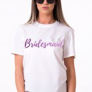 Bridesmaid Shirt, White/Purple