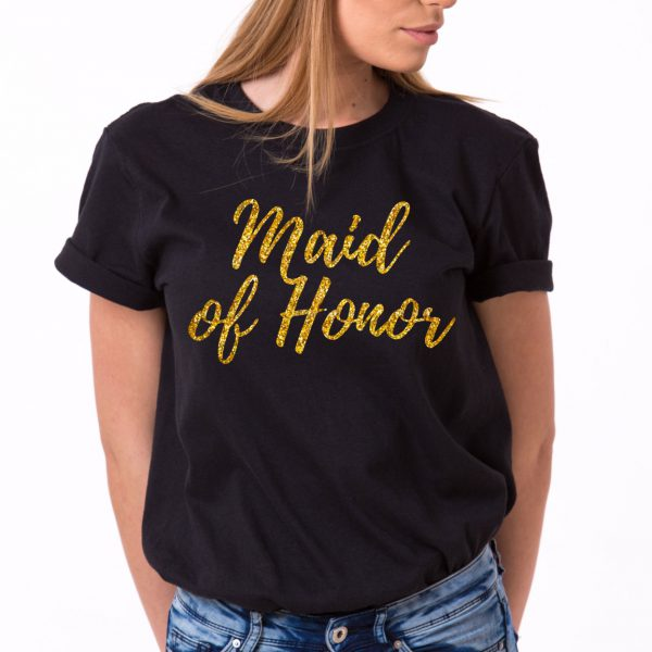Maid of Honor Shirt, Black/Gold Glitter