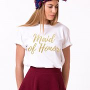 Maid of Honor Shirt, White/Gold Glitter