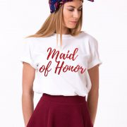 Maid of Honor Shirt, White/Red Glitter