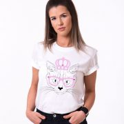 Cat Princess Shirt, White/Black/Pink
