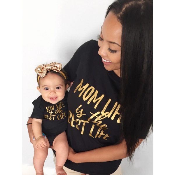Mom Life Is The Best Life, Kid Life Is The Best Life, Black/Gold