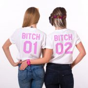 Bitch 01 Bitch 02, White/Pink
