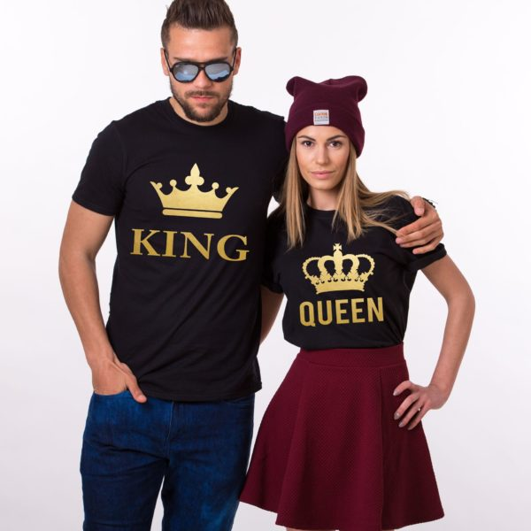 King Queen, Big Crowns, Shirts, Black/Gold