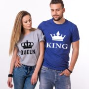 King Queen, Big Crowns, Shirts, Gray/Black Blue/White
