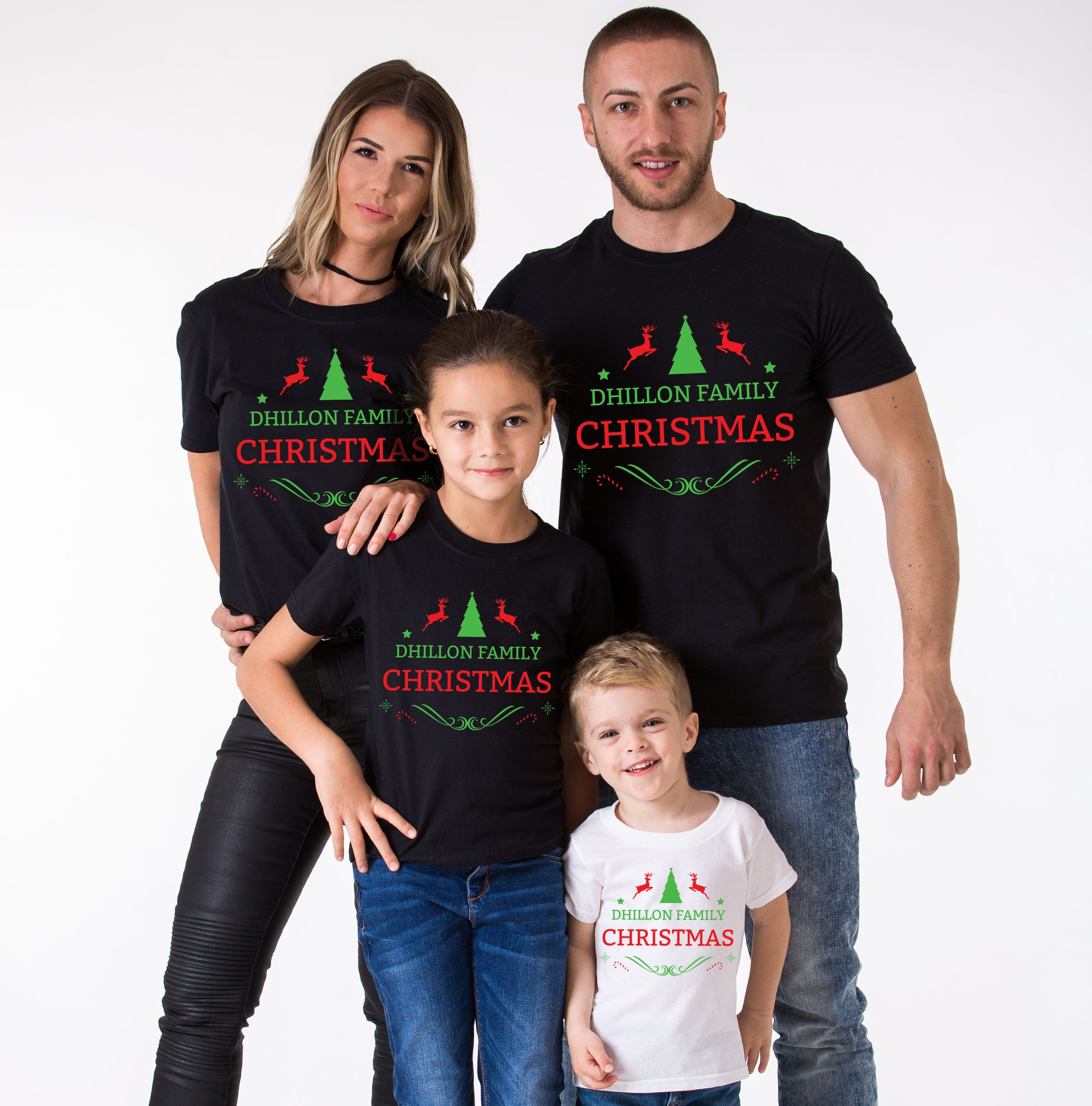 Matching Christmas Shirts For Family.Custom Name Matching Family Christmas Shirts