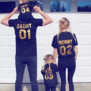 Mommy Daddy Kid Baby, Black/Gold