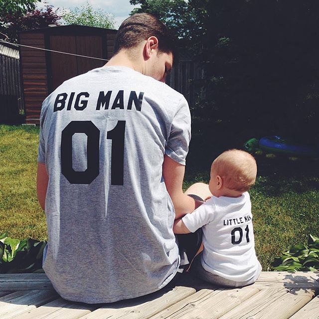 BIG MAN LITTLE MAN 01 MATCHING TSHIRTS Father Son Parent Child Fathers Day Gift