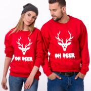 Oh deer, Oh deer Christmas sweatshirt, Oh deer sweatshirt, Matching couple Christmas sweatshirts, Christmas sweatshirt,  UNISEX