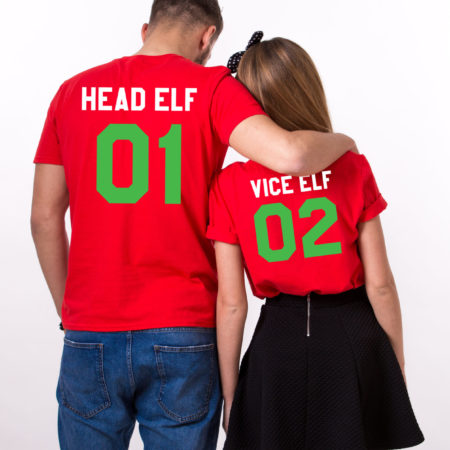 Head Elf Vice Elf matching shirts, Print on the BACK, matching couples Christmas shirts, matching couples Christmas outfits, UNISEX