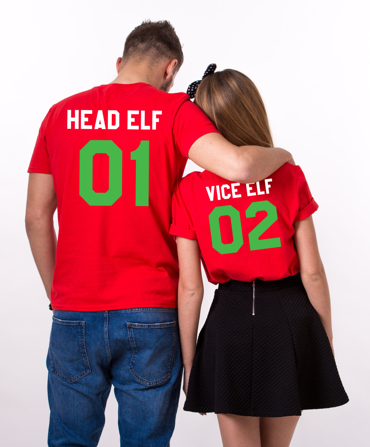 head elf vice elf matching shirts print on the back matching couples christmas shirts