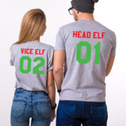 Head Elf Vice Elf matching shirts, Print on the BACK, matching couples Christmas shirts, matching couples Christmas outfits, UNISEX 5