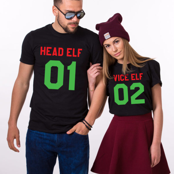 Head Elf Vice Elf matching shirts, matching couples Christmas shirts, matching couples Christmas outfits, 100% cotton Tee, UNISEX 1