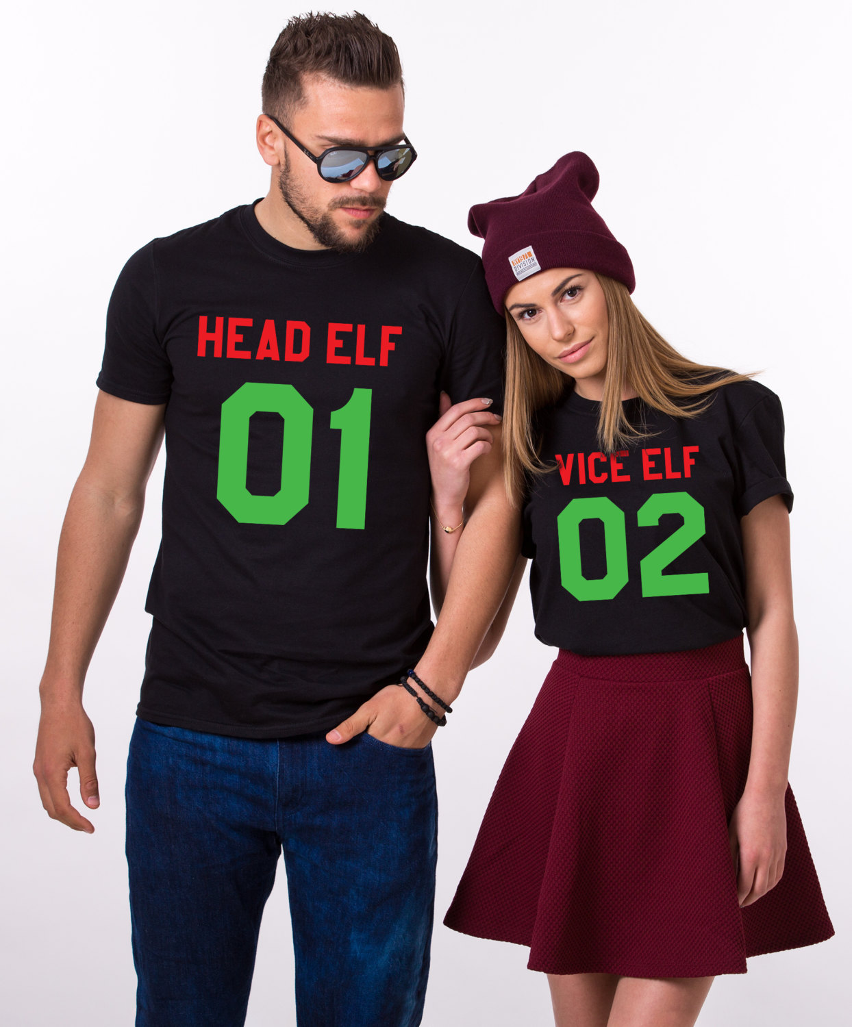 Head Elf, Vice Elf, Matching Couples Christmas Shirts - Awesome ...