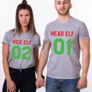 Head Elf Vice Elf matching shirts, matching couples Christmas shirts, matching couples Christmas outfits, 100% cotton Tee, UNISEX 2
