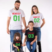 Head Elf Mommy Elf Little Elf family shirts, matching family Christmas shirts, matching Christmas outfits, 100% cotton Tee, UNISEX