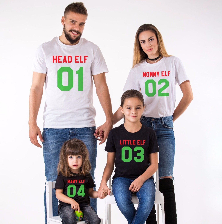 Head Elf, Mommy Elf, Little Elf, Baby Elf, Matching Family Christmas Shirts