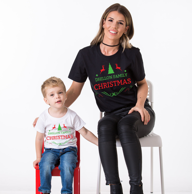 Matching Family Christmas Outfits.Custom Name Matching Family Christmas Shirts