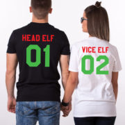 Head Elf Vice Elf matching shirts, Print on the BACK, matching couples Christmas shirts, matching couples Christmas outfits, UNISEX 2