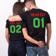 Head Elf Vice Elf matching shirts, Print on the BACK, matching couples Christmas shirts, matching couples Christmas outfits, UNISEX 4