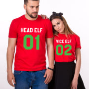 Head Elf Vice Elf matching shirts, matching couples Christmas shirts, matching couples Christmas outfits, 100% cotton Tee, UNISEX 4
