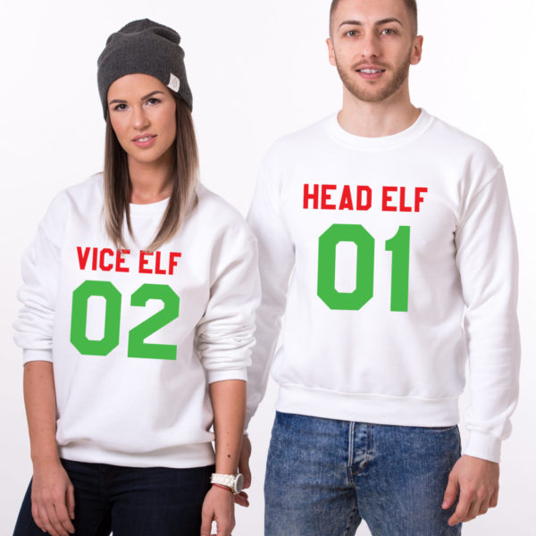 Head Elf Vice Elf sweatshirts, Matching couple Christmas sweatshirts, Christmas sweatshirt,  UNISEX 1