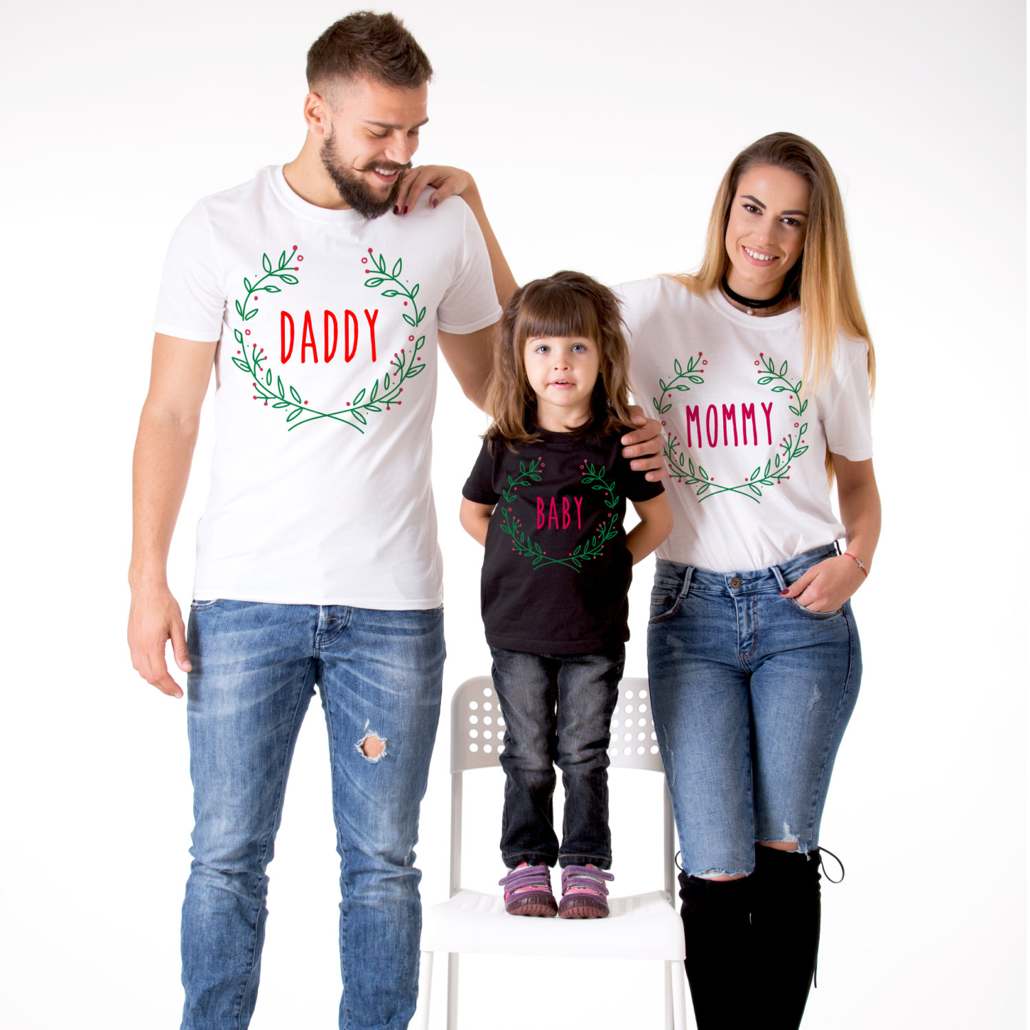Matching Christmas Shirts For Family.Mommy Daddy Baby Matching Family Christmas Shirts