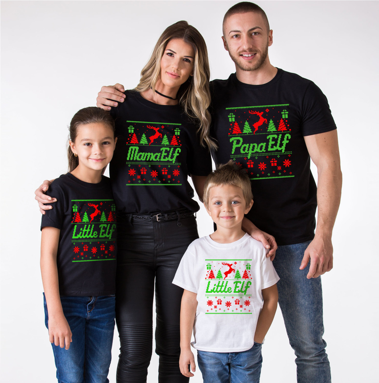 Matching Christmas Shirts For Family.Papa Elf Mama Elf Little Elf Matching Family Christmas Shirts
