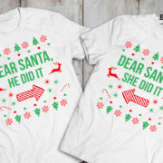 Kids Christmas shirt, Kids Christmas outfit , Sibling shirts, Dear Santa she did it, Dear Santa he did it, TWO kids shirts 2