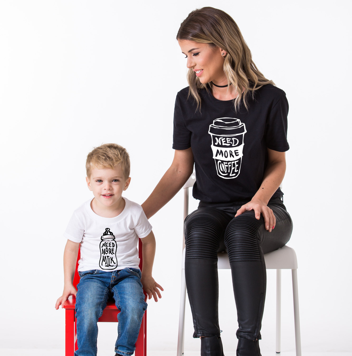 2ae7607dab19c Need More Milk, Need More Coffee, Matching Mommy and Me Shirts