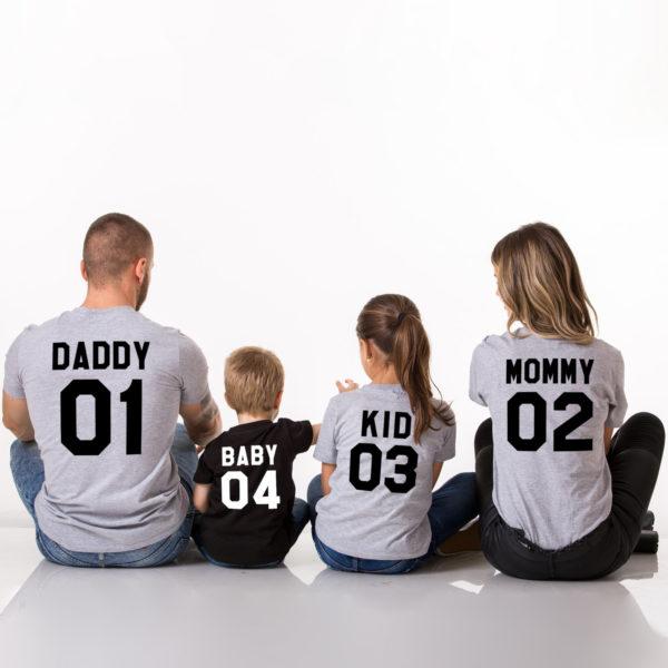 Mommy, Daddy, Baby, Kid, Grey/Black, Black/White