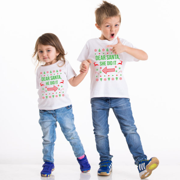 Kids Christmas shirt, Kids Christmas outfit , Sibling shirts, Dear Santa she did it, Dear Santa he did it, TWO kids shirts 1