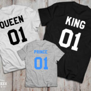 King and Queen 01 Prince 01 Father Mother Son Daughter T-shirts, King and Queen shirts, 01 Couples Shirts, 100% cotton Tee, UNISEX 4