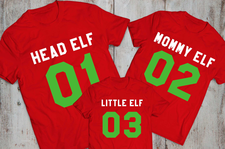 Family Christmas Shirts.Head Elf Mommy Elf Little Elf Baby Elf Matching Family Christmas Shirts