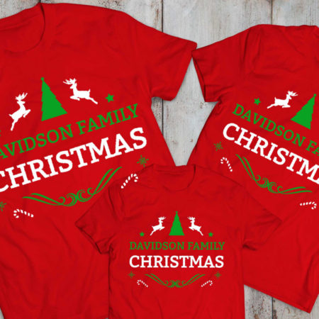 CUSTOM name set of 3 family matching Christmas shirts, matching family Christmas shirts, matching Christmas outfits,family Christmas pajamas