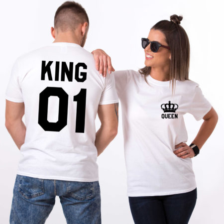 King Queen 01 Pocket Crowns, Double Sided, Matching Couples King Queen Shirts