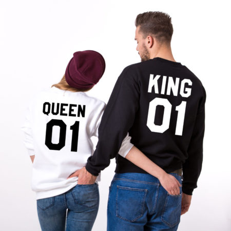 King Queen 01 Sweatshirts, Matching Couples Sweatshirts