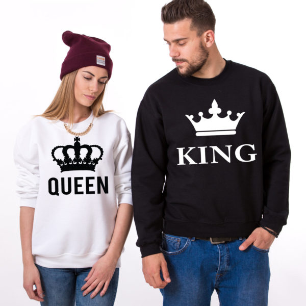 King Queen Sweatshirts, White/Black, Black/White