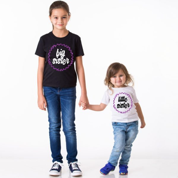 Big Sister Little Sister, Black/White, White/Black, Purple Glitter