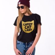 Crazy Cat Lady Shirt, Black/Gold